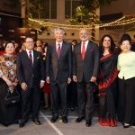 From Left - DBS Chairman Peter Seah, PM Lee Hsien Loong, DBS CEO Piyush Gupta at the DBS SPARKS The Musical (Photo Credit: DBS)
