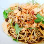 Racines restaurant braised Ee-fu noodles with scallops, XO sauce, mushroom and chives
