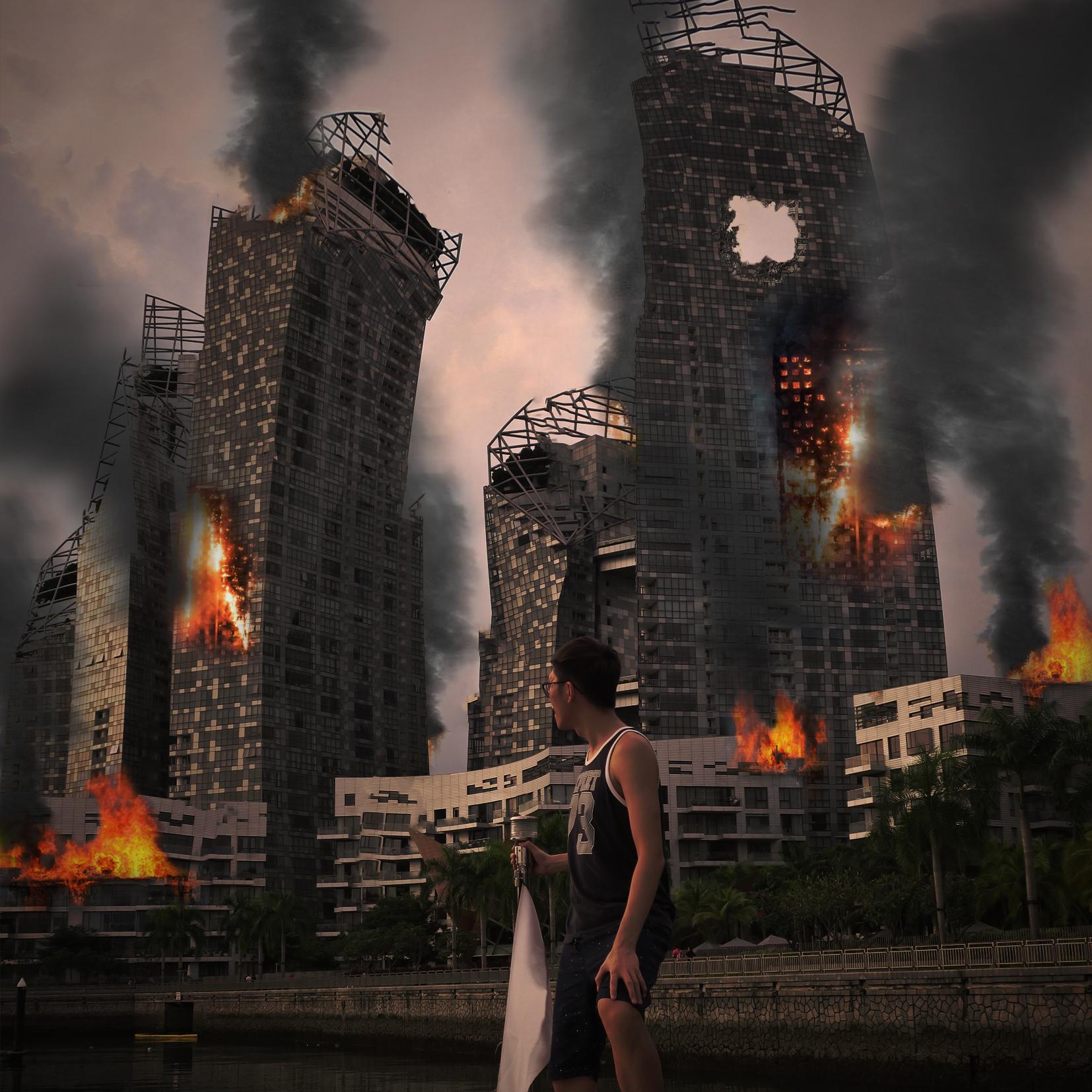 World In Flames Digital Art by Alvin Sim
