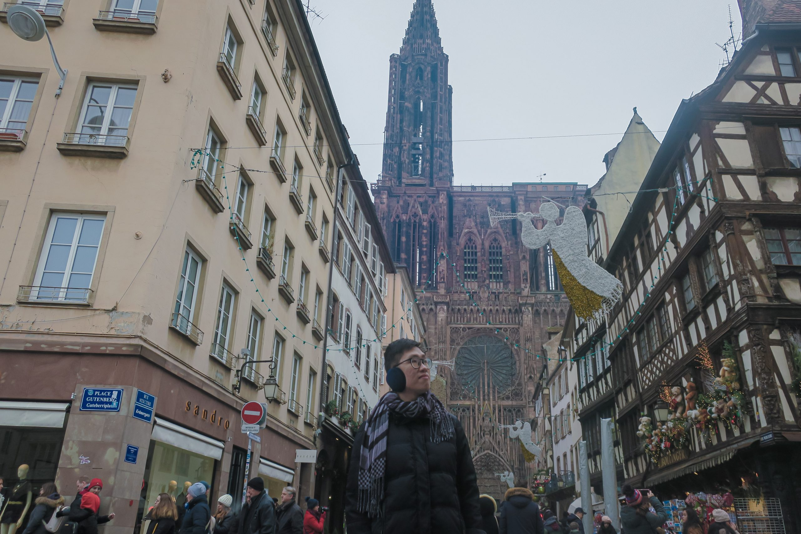 Street view with Strasbourg Cathedral behind